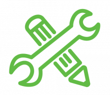 Icons: projects (green line drawing of pencil and wrench)